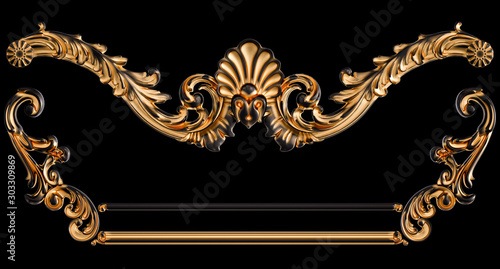 Fotomural  Black ornament with gold patina on a black background. Isolated