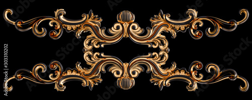 Black ornament with gold patina on a black background. Isolated Wallpaper Mural
