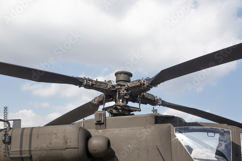 Details of the rotor and part of the body of military helicopters Canvas Print