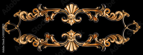 Fotografía  Black ornament with gold patina on a black background. Isolated