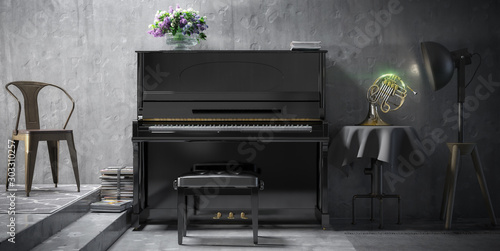 Arangment of Piano and French Horn (panoramic) - 3d visualization