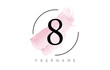 Number 8 Watercolor Stroke Logo Design with Circular Brush Pattern.