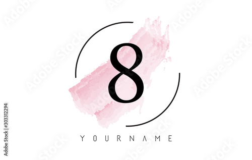 Photo  Number 8 Watercolor Stroke Logo Design with Circular Brush Pattern
