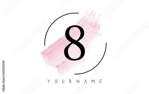 Fotografía  Number 8 Watercolor Stroke Logo Design with Circular Brush Pattern
