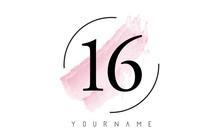 Number 16 Watercolor Stroke Logo Design With Circular Brush Pattern.