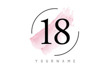 Number 18 Watercolor Stroke Logo Design With Circular Brush Pattern.