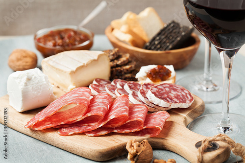 Red wine and charcuterie assortment Wallpaper Mural