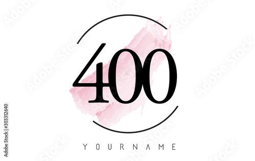 Fotografia  Number 400 Watercolor Stroke Logo Design with Circular Brush Pattern