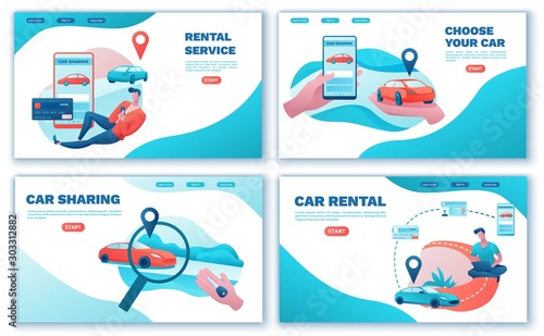 Fotobehang Cartoon cars Carsharing landing page set, cartoon people, rent automobile, businessman order ride, rental service template, mobile app concept, man, girl, flat vector design, turquoise, red color