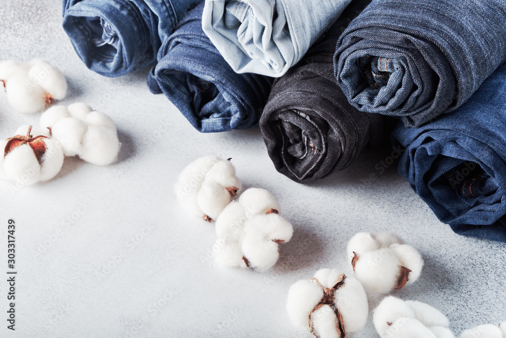 Fototapety, obrazy: Rolled jeans and cotton flowers on light background