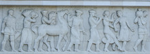 Basrelief Of People And Horse