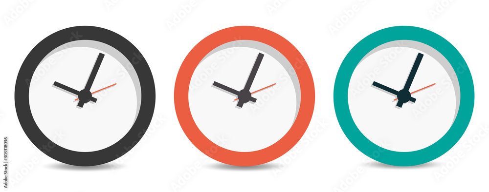Fototapety, obrazy: Flat long shadow clock icon isolated on white background