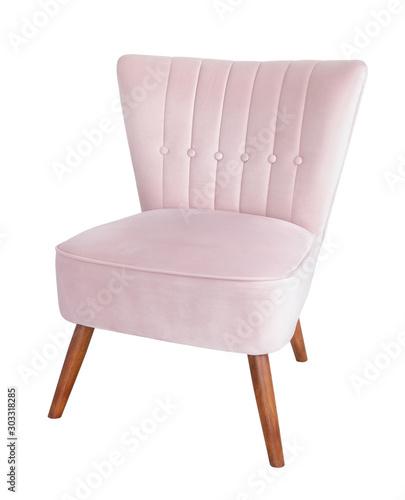 Fototapeta Pink, comfortable, velvet armchair on wooden legs isolated on white background