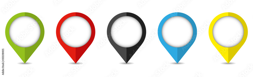 Fototapeta Set of bright map pointers. Location icons isolated on white background.