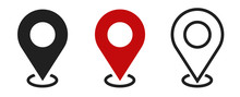 Set Of Location Icons. Modern Map Markers .Vector Illustration On A White Background.