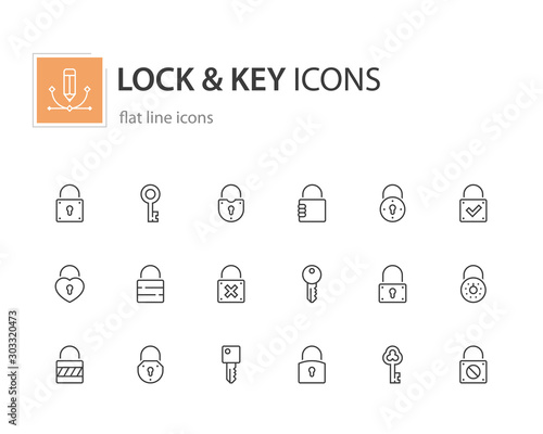 Lock and key icons, flat line.