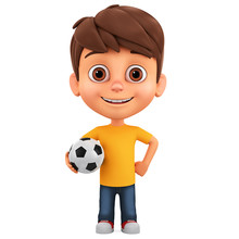 Cartoon Character Little Boy Holds A Soccer Ball On A White Background. 3d Render Illustration.