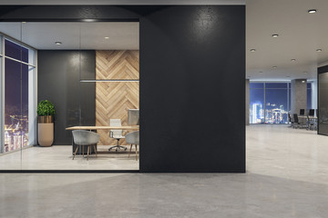 Modern office interior with poster