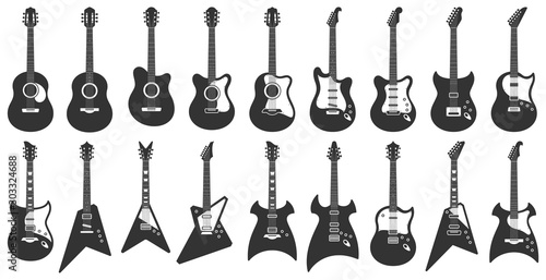 Obraz na plátně Black and white guitars