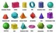 Realistic 3D color basic shapes. Solid colored geometric forms, cylinder and colorful cube shape. Maths geometrical figure form, realistic shapes model. Isolated vector illustration icons set