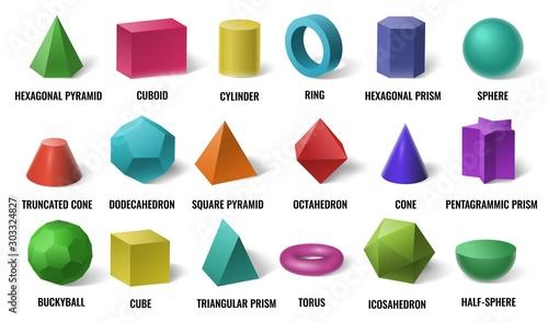 Valokuva Realistic 3D color basic shapes