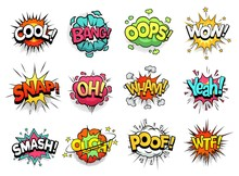 Comic Sign Clouds. Boom Bang, Wow And Cool Speech Bubbles. Burst Cloud Expressions, Comics Mems Humor Dialogue Bubbles Or Superheroes Speak Explode. Isolated Cartoon Vector Signs Set