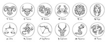 Zodiac Signs. Sketch Cancer, Scorpio And Pisces. Hand Drawn Taurus, Virgo And Capricorn. Aries, Leo And Sagittarius. Gemini, Libra And Aquarius Horoscope. Isolated Vector Symbols Illustrations