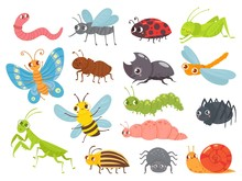 Cute Cartoon Insects. Funny Ca...