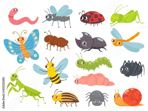 Cute cartoon insects Tableau sur Toile