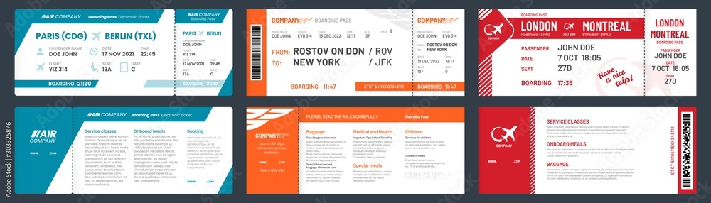 Fototapety, obrazy: Airplane tickets. Airline ticket template with passenger name, aircraft trip flying tickets. travelling departure plane ticket, aircraft travel card vector illustration set