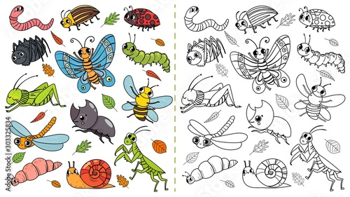 Fotografia, Obraz Cartoon insects color painting game
