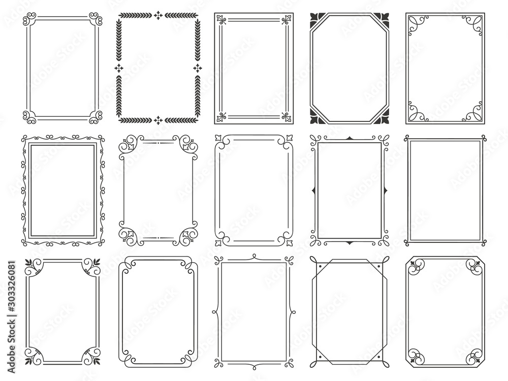 Fototapeta Vintage calligraphic frames. Ornate calligraph frame, retro elegant ornamental borders and filigree floral ornaments for framed certificate template. Isolated vector illustration signs set