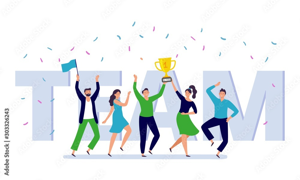 Fototapeta Team of corporate people celebration. Happy office workers celebrate win golden cup, teamwork trophy and success persons. Businessman celebration festival party flat vector illustration