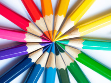 Many Different Colored Pencils On White Background, Colored Pencils In Arrange In Color Wheel Colors On White Background, Group Of Multicolor Pencils.