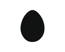 Flat Style Egg Icon Shape. Easter Design Logo Symbol Silhouette. Vector Illustration Image. Isolated On White Background.