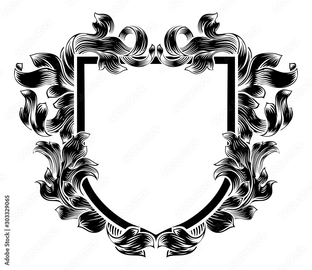 Fototapeta A coat of arms crest heraldic medieval knight or royal family shield. Vintage motif with filigree leaf heraldry.