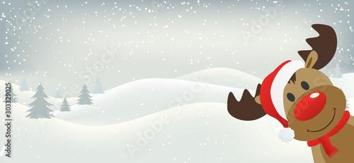Fotomural  rudolph reindeer red nose