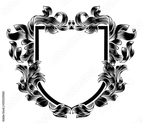 Photo A coat of arms crest heraldic medieval knight or royal family shield