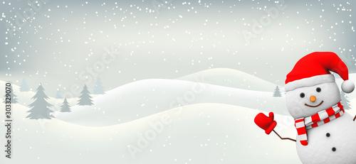 Schneemann mit Landachaft Fototapete