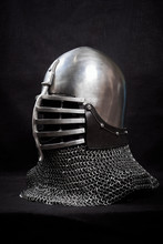 Knight Helmet On A Black Background. Side View.