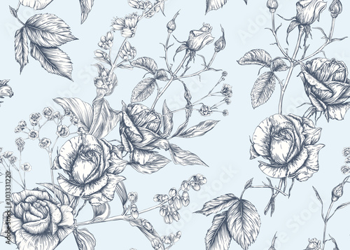 Obraz Roses and spring flowers seamless pattern. Graphic drawing, engraving style. Vector illustration. - fototapety do salonu