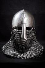 Knight Helmet On A Black Backg...