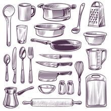 Kitchen Utensils. Sketch Cooki...