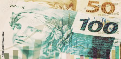 brazilian stock exchange, brazil real rising, quotation of brazilian real in the market Fototapet