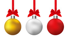 Christmas Ball Isolated On Background. Vector Illustration Design.