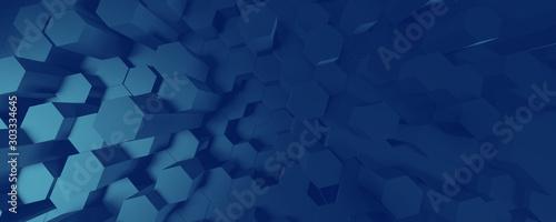 Fototapeta 3d BLUE illustration of honeycomb ABSTRACT BACKGROUND, FUTURISTIC HEXAGONAL WALLPAPER, BACKGROUND obraz