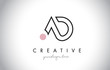 AD Letter Logo Design with Creative Modern Trendy Typography.