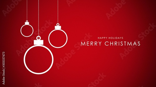 Photo  Happy Holidays and Merry Christmas text, white balls on red background