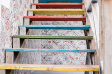 Wooden Steps Painted In Differ...