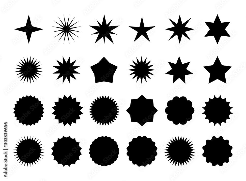 Fototapeta Star burst sticker set. Black flat price tags explosion silhouettes, starburst retro sale badge. Vector illustration star blank label, stickers emblem on white for promo offer sales coupon, banner